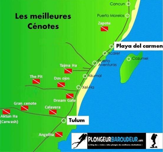 carte-meilleures-cenotes-plongee-mexique