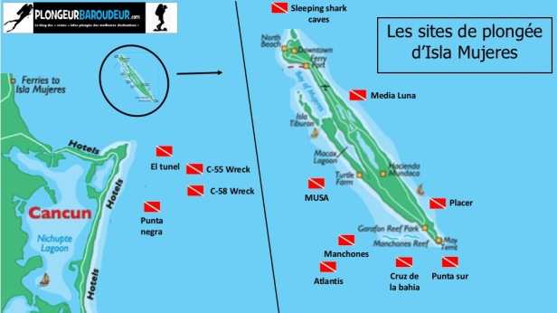 carte-sites-de-plongee-isla-mujeres