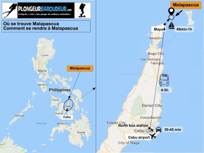 Carte comment arriver à Malapascua-min