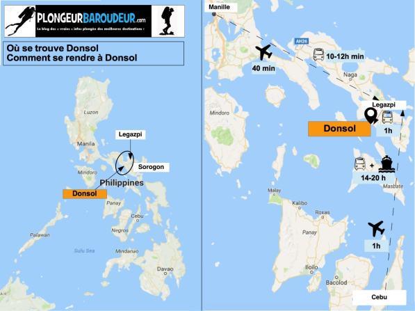 Carte comment arriver à Donsol-min