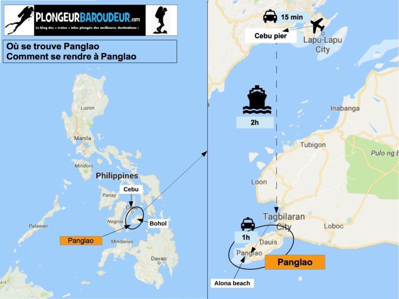 Carte se rendre à Panglao-min