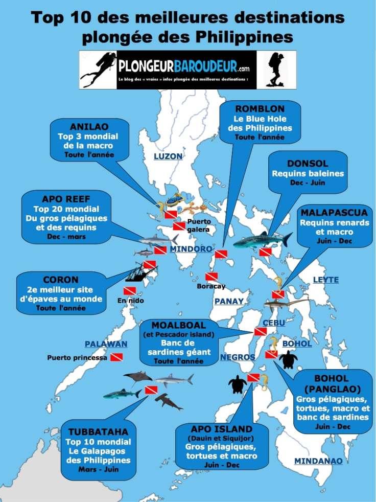 carte meilleures destinations plongées Philippines-min