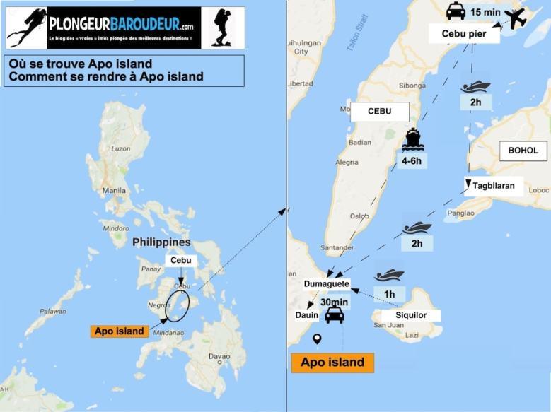 Carte se rendre à Apo island-min