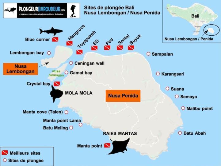 _carte sites de plongée Nusa Lembongan Penida Bali-min